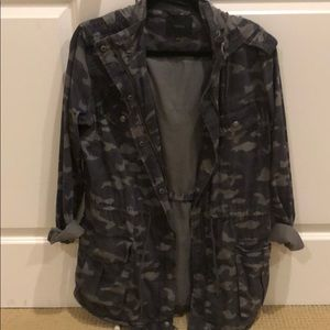 Hooded Navy Military Jacket. Size small.